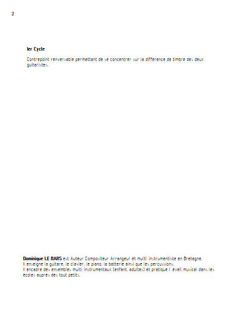 Pastorale - Duos Guitare - LE BARS D. - Educationnal sheet