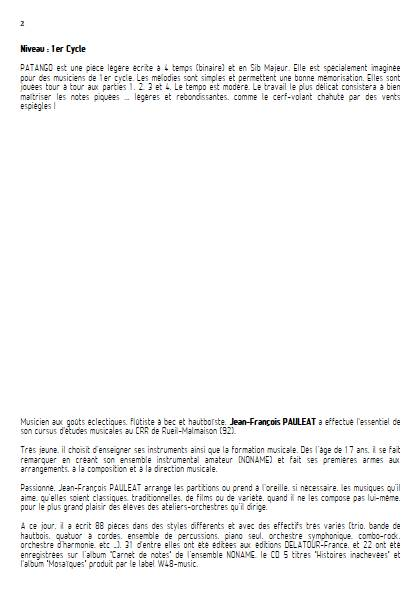 Patango - Ensemble Variable - PAULEAT J. F. - Educationnal sheet
