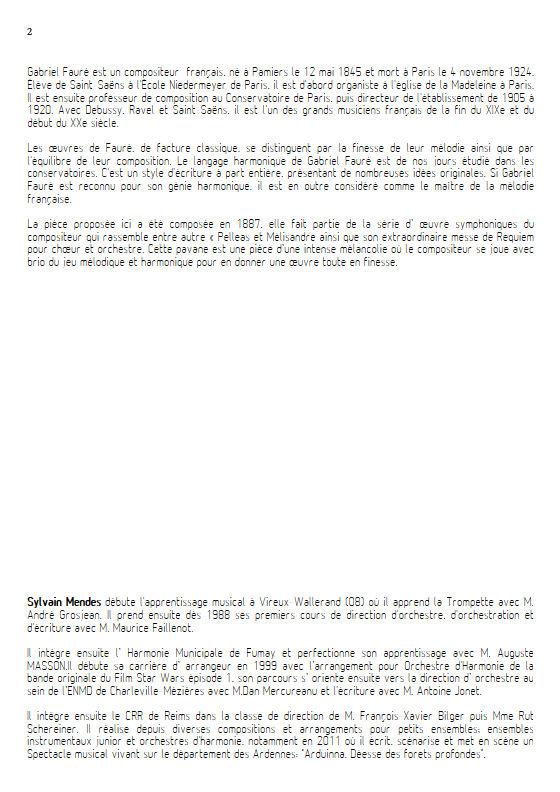 Pavane - Quatuor Cuivres - FAURÉ G. - Educationnal sheet
