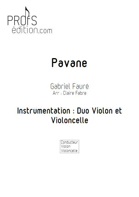Pavane - Duo violon Violoncelle - FAURE G. - front page