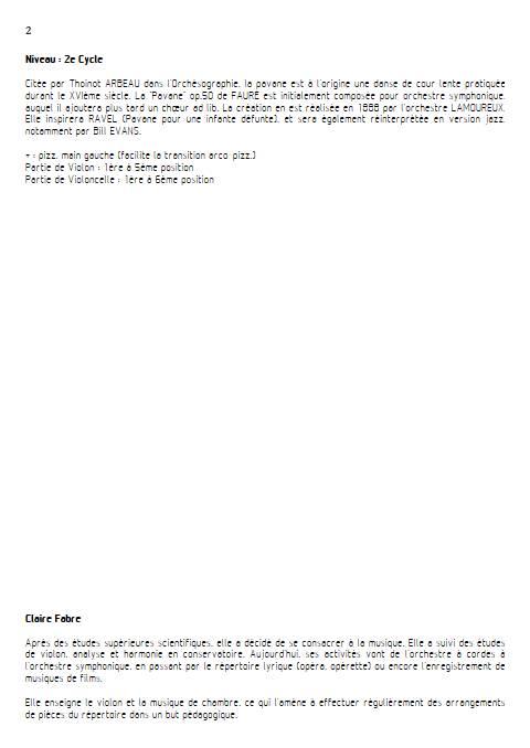 Pavane - Duo violon Violoncelle - FAURE G. - Educationnal sheet