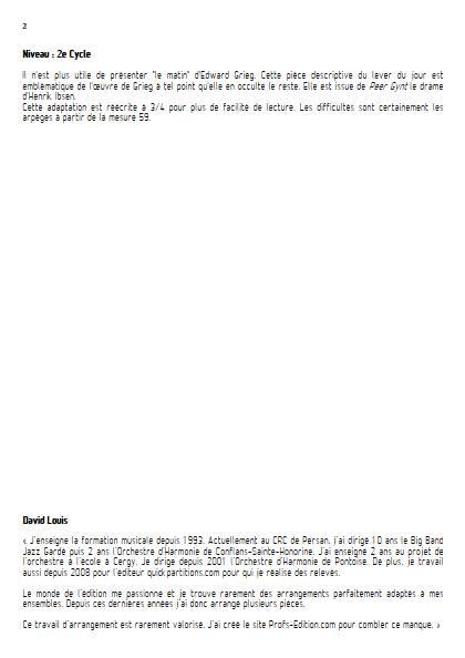 Le matin - Ensemble Variable - GRIEG E. - Educationnal sheet