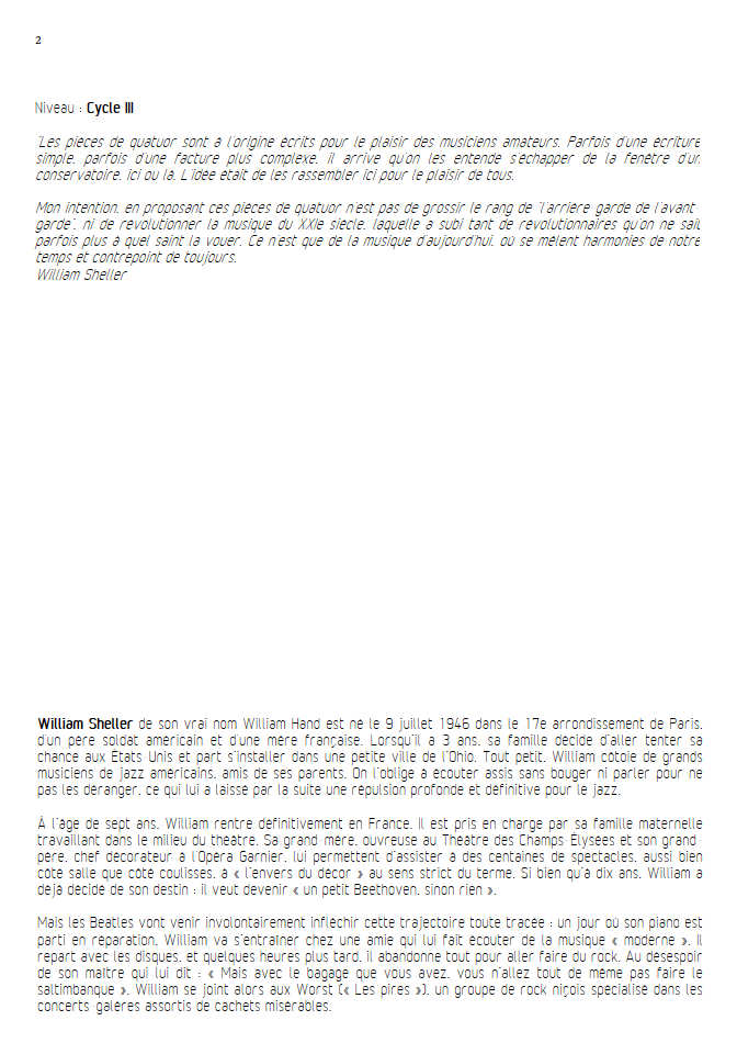 Pepperland - Quatuor à Cordes - SHELLER W. - Educationnal sheet