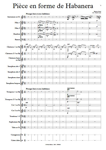 Pièce en forme de Habanera - Orchestre d'Harmonie & Instrument - RAVEL M. - app.scorescoreTitle