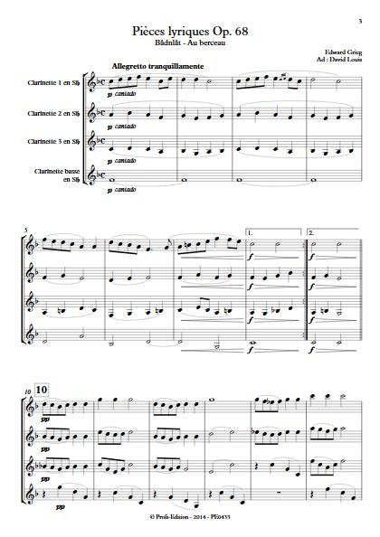 Pièce Lyrique Op.68 - Quatuor de Clarinettes - GRIEG E. - app.scorescoreTitle