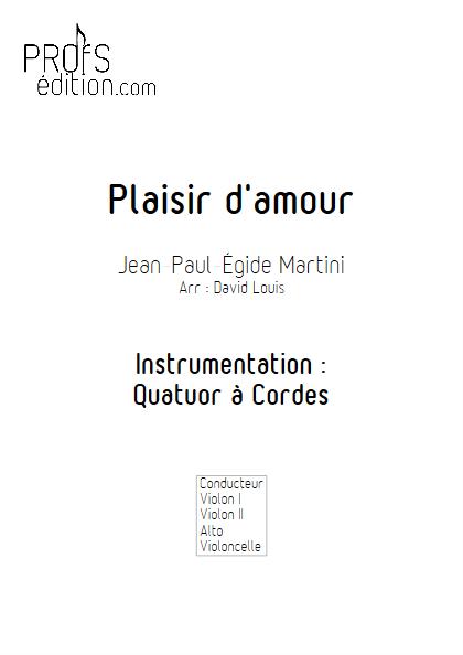Plaisir d'Amour - Quatuor à Cordes- MARTINI J-P-E - front page