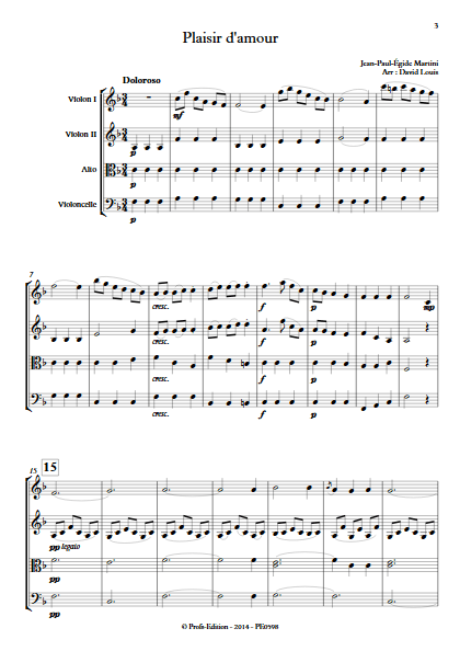 Plaisir d'Amour - Quatuor à Cordes- MARTINI J-P-E - app.scorescoreTitle