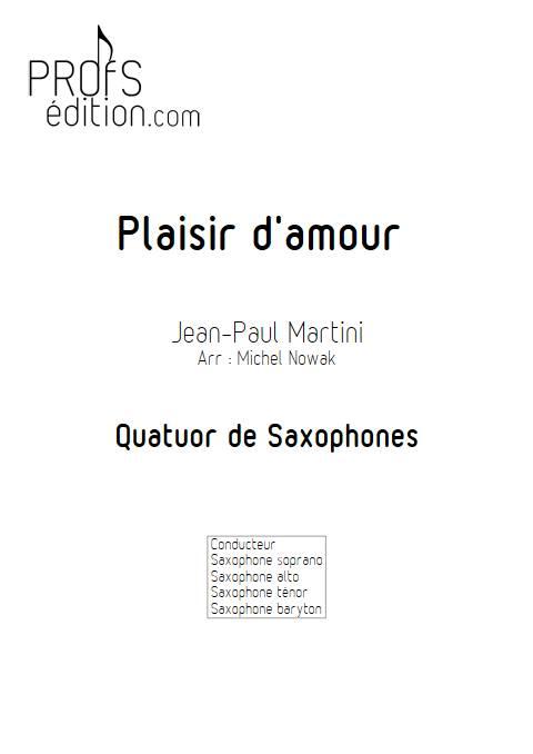 Plaisir d'Amour - Quatuor de Saxophones - MARTINI J-P-E - front page