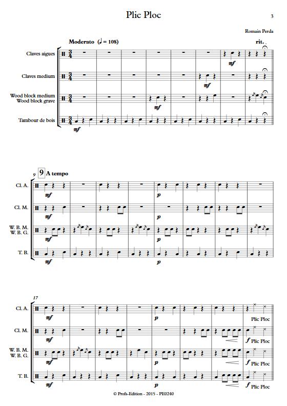 Plic Ploc - Quatuor de Percussions - PERDA R. - app.scorescoreTitle