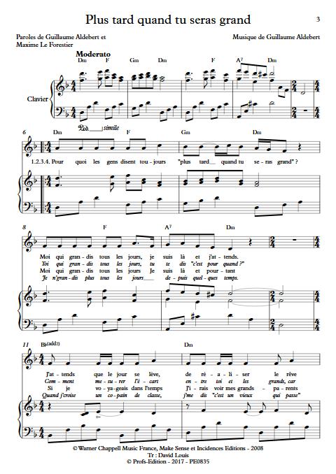 Plus tard quand tu seras grand - Piano & voix - ALDEBERT G. - app.scorescoreTitle