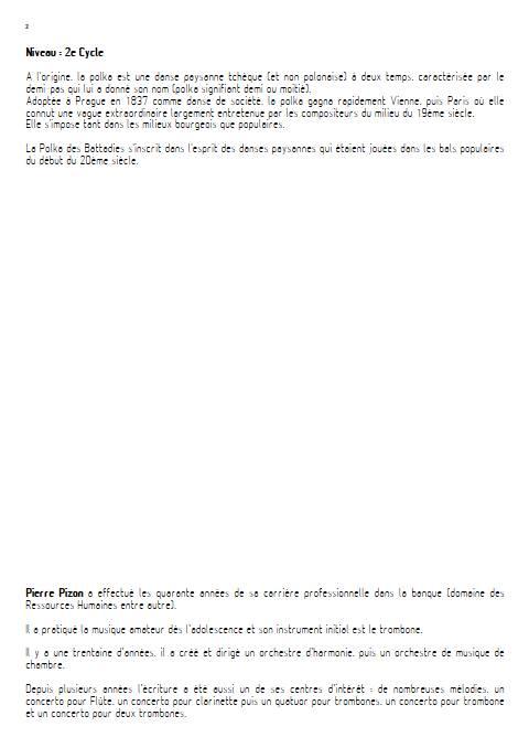 Polka des battadies - Orchestre d'Harmonie - PIZON P. - Educationnal sheet
