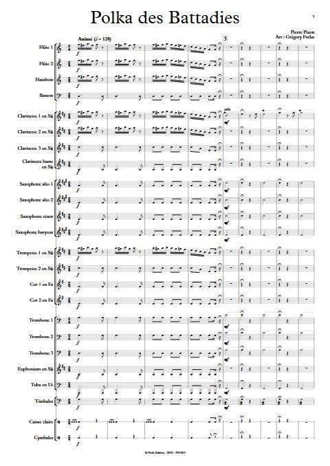 Polka des battadies - Orchestre d'Harmonie - PIZON P. - app.scorescoreTitle