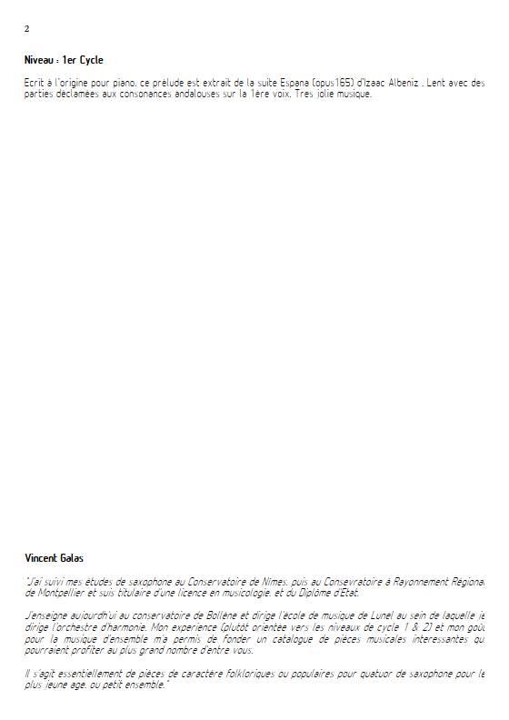 Prélude - Quatuor de Saxophones - ALBENIZ I. - Educationnal sheet