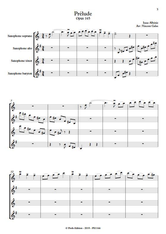Prélude - Quatuor de Saxophones - ALBENIZ I. - app.scorescoreTitle