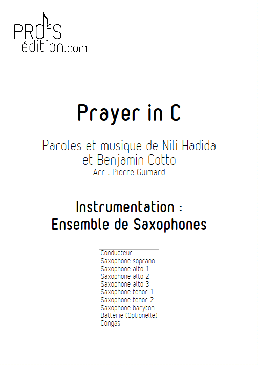 Prayer in C - Ensemble de Saxophones - front page