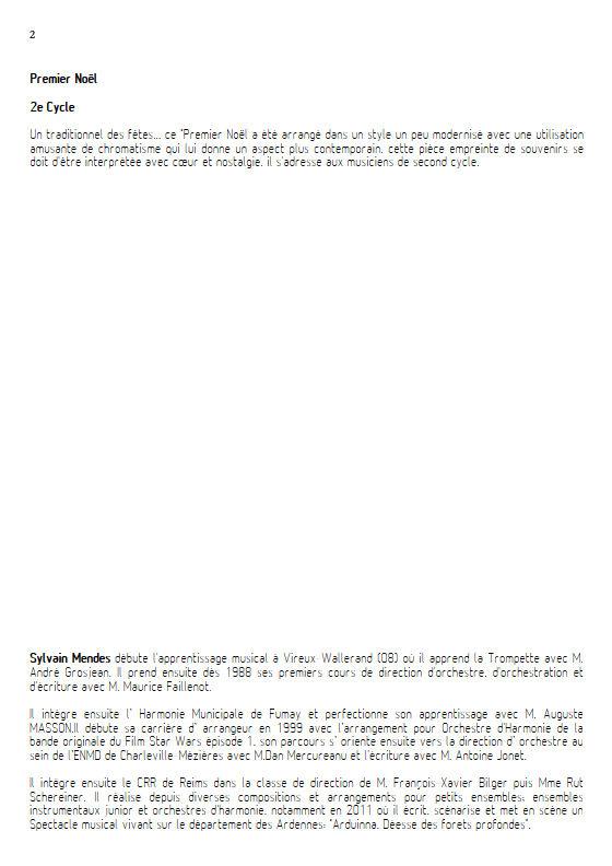 Premier Noël - Quatuor Cuivres - TRADITIONNEL - Educationnal sheet