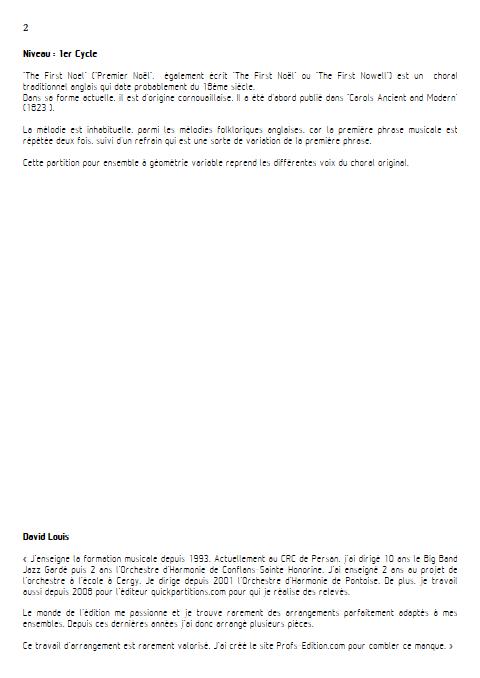 Premier Noël - Ensemble à Géométrie Variable - TRADITIONNEL ANGLAIS - Educationnal sheet