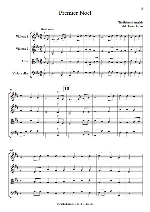 Premier Noël - Quatuor à Cordes- TRADITIONNEL ANGLAIS - app.scorescoreTitle