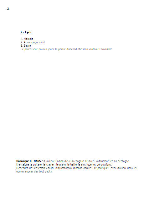 Promenade - Trios Guitare - LE BARS D. - Educationnal sheet
