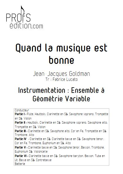 Quand la musique est bonne - Ensemble à Géométrie Variable - GOLDMAN J.J. - front page