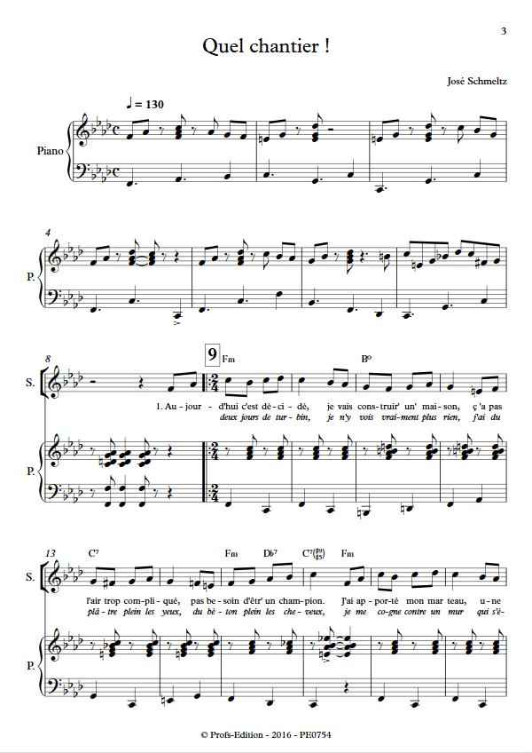 Quel chantier - Voix & Piano - SCHMELTZ J. - app.scorescoreTitle