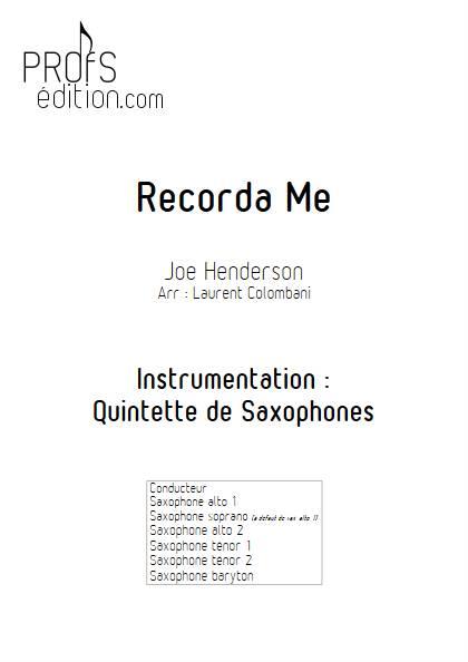 Recorda me - Quintette de Saxophone - HENDERSON J. - front page