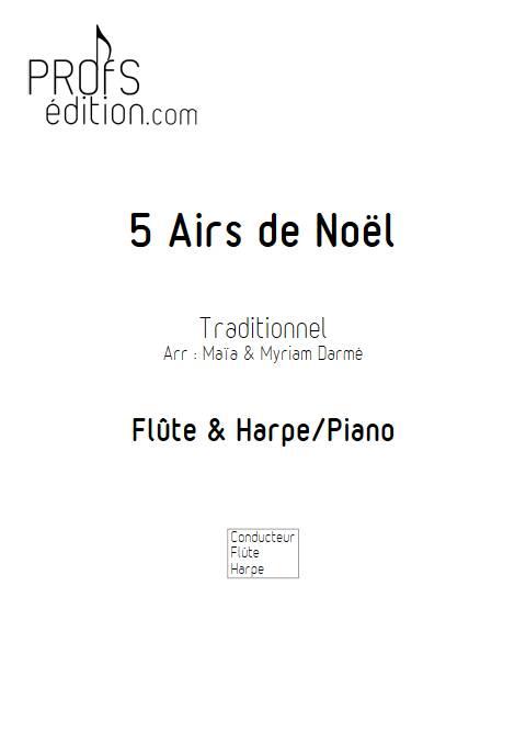5 Airs de Noël - Flûte é Harpe/Piano - Traditionnel - front page