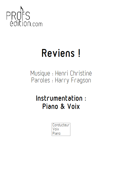 Reviens - Piano & Voix - CHRISTINE H. - front page