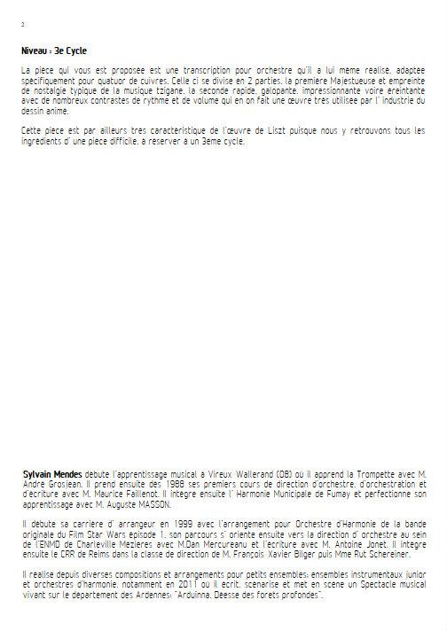 Rhapsodie Hongroise N°2 - Quatuor Cuivres - LISZT F. - Educationnal sheet