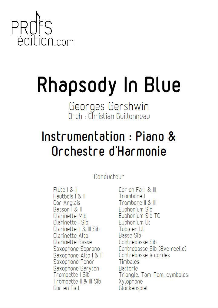 Rhapsody In Blue - Orchestre Harmonie - GERSHWIN G. - front page