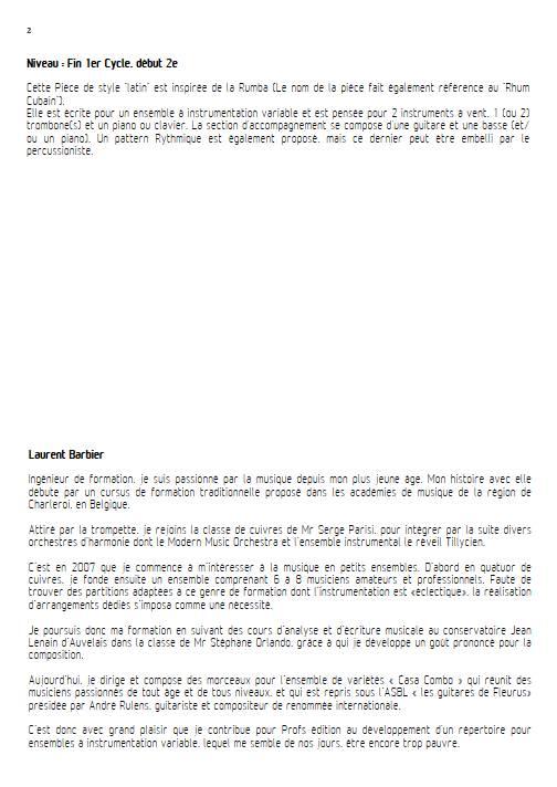 Rhumbacasa - Ensemble Variable - BARBIER L. - Educationnal sheet