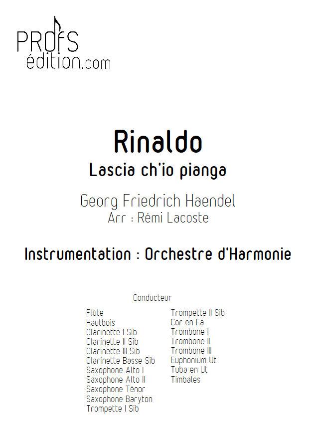 Rinaldo, Lascia ch'io pianga - Orchestre Harmonie - HAENDEL G. F. - front page