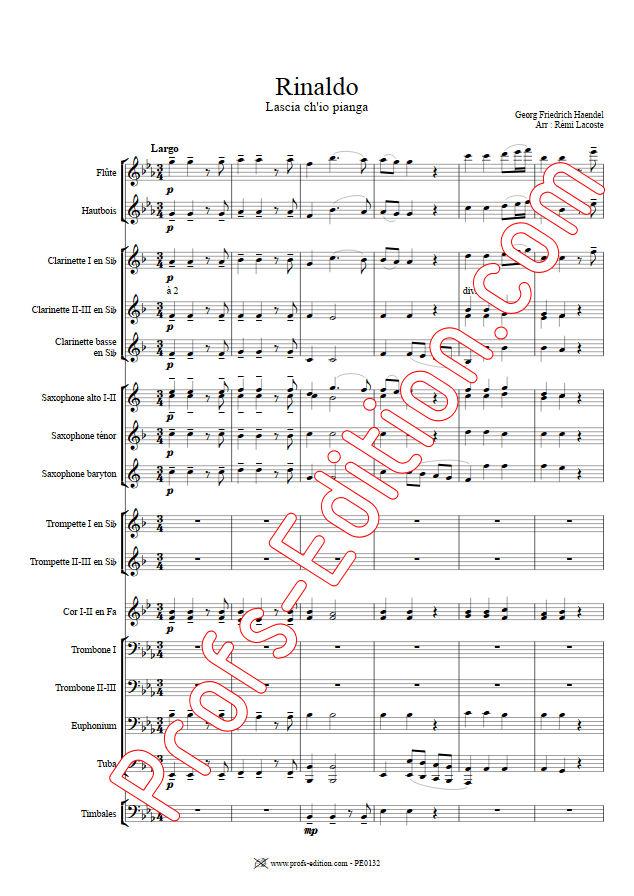 Rinaldo, Lascia ch'io pianga - Orchestre Harmonie - HAENDEL G. F. - Educationnal sheet