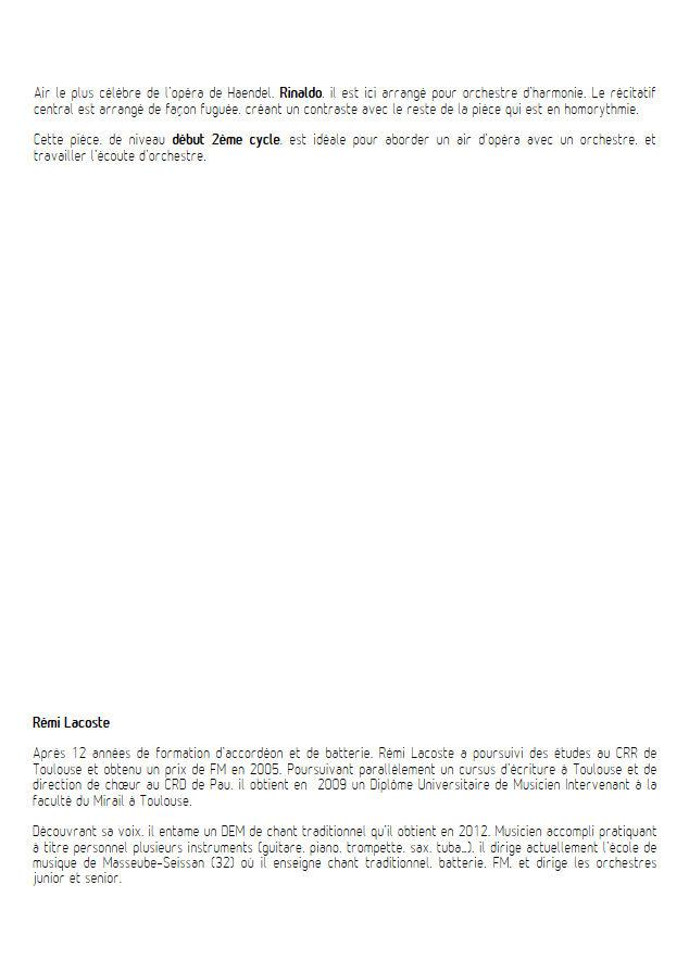 Rinaldo, Lascia ch'io pianga - Orchestre Harmonie - HAENDEL G. F. - app.scorescoreTitle