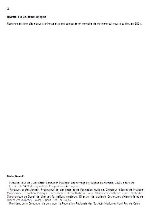 Romance pour clarinette - Clarinette & Piano - NOWAK M. - Educationnal sheet