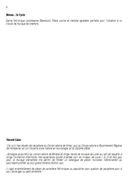 Rumichaca - Quatuor de Saxophones - TRADITIONNEL COLOMBIEN - Educationnal sheet
