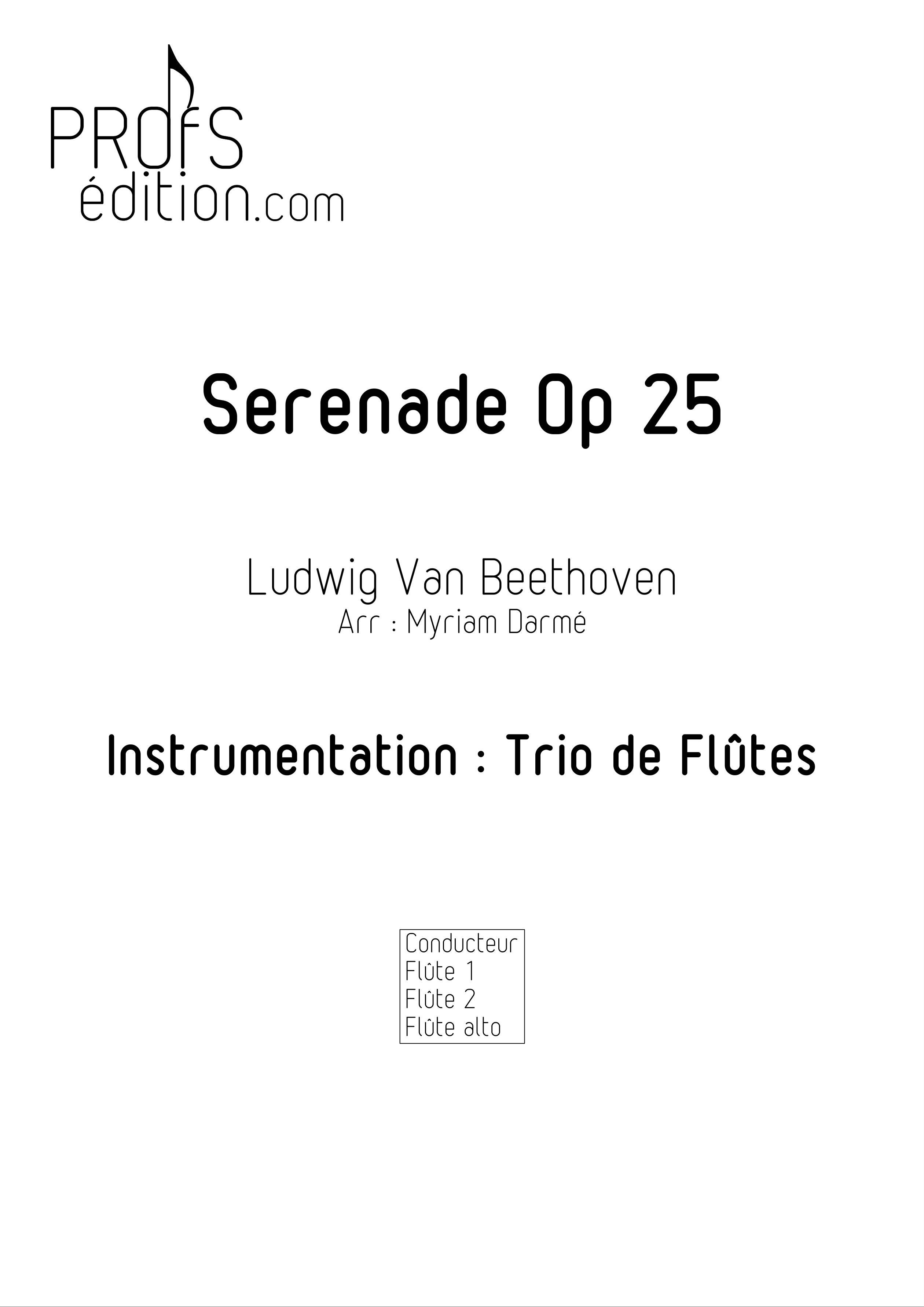 Serenade Op 25 - Trio de Flûtes - BEETHOVEN L. V. - front page