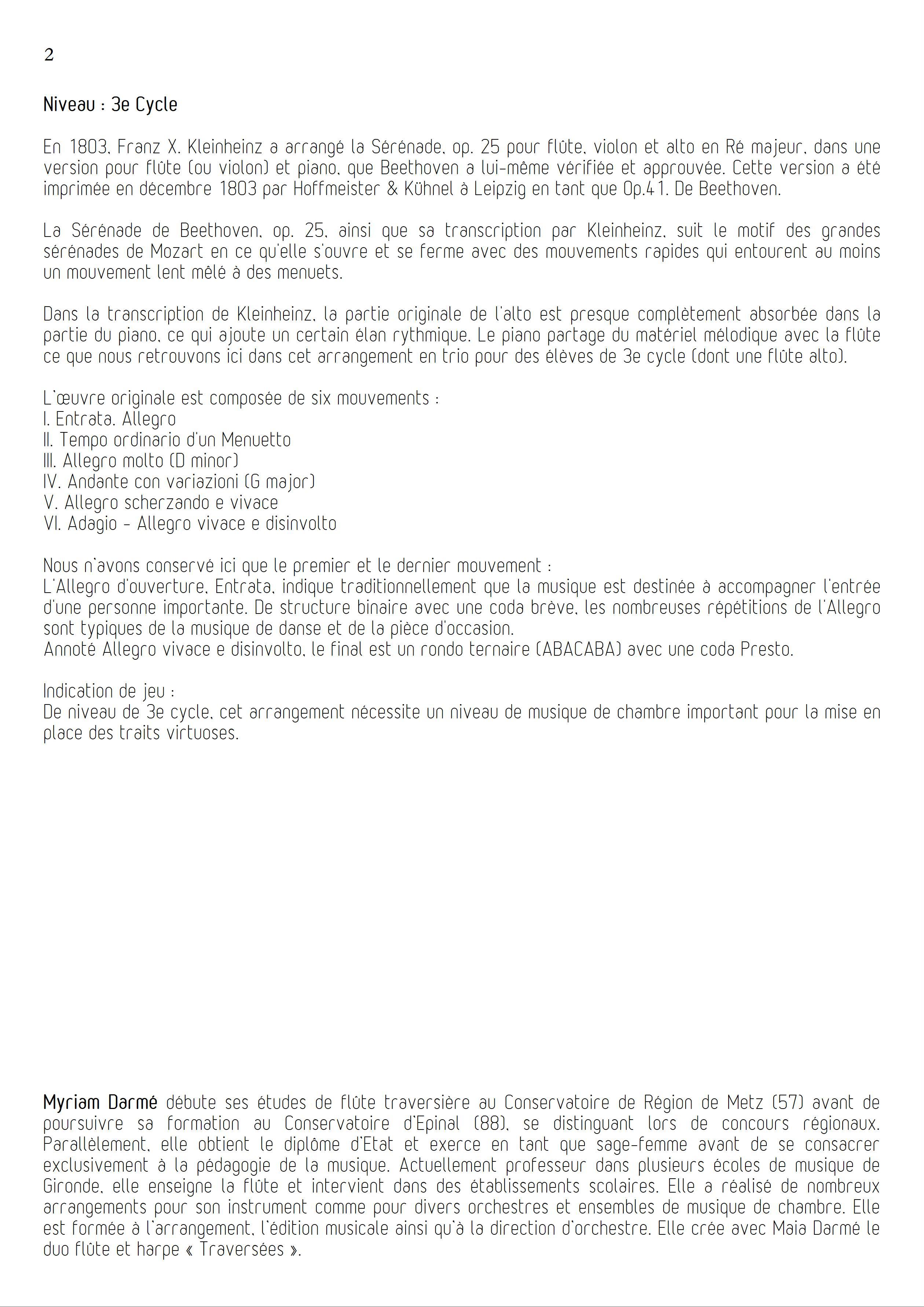 Serenade Op 25 - Trio de Flûtes - BEETHOVEN L. V. - Educationnal sheet
