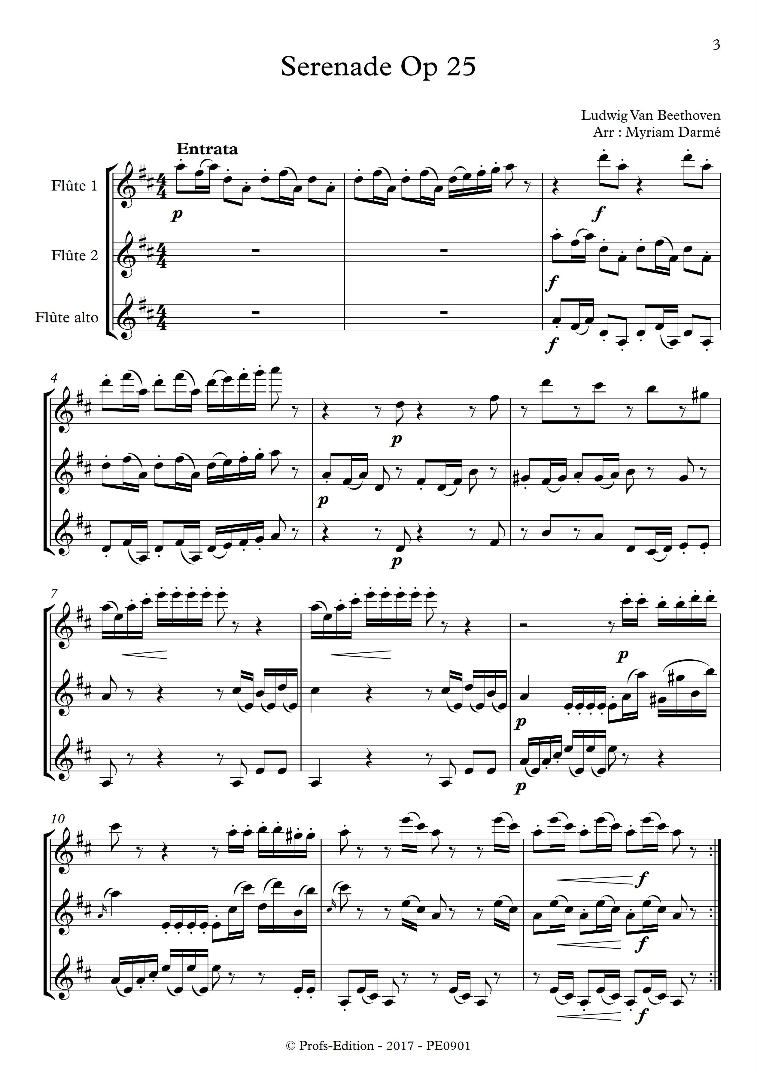 Serenade Op 25 - Trio de Flûtes - BEETHOVEN L. V. - app.scorescoreTitle