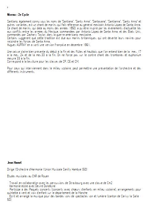 Santiano - Orchestre d'Harmonie - TRADITIONNEL - Educationnal sheet