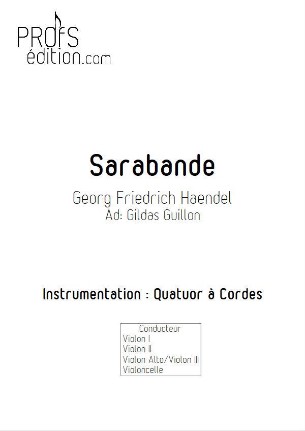 Sarabande (à la blanche) - Quatuor à Cordes - HAENDEL G. F. - front page