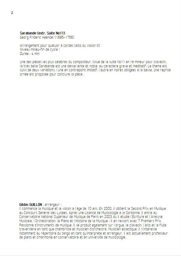 Sarabande (à la blanche) - Quatuor à Cordes - HAENDEL G. F. - Educationnal sheet