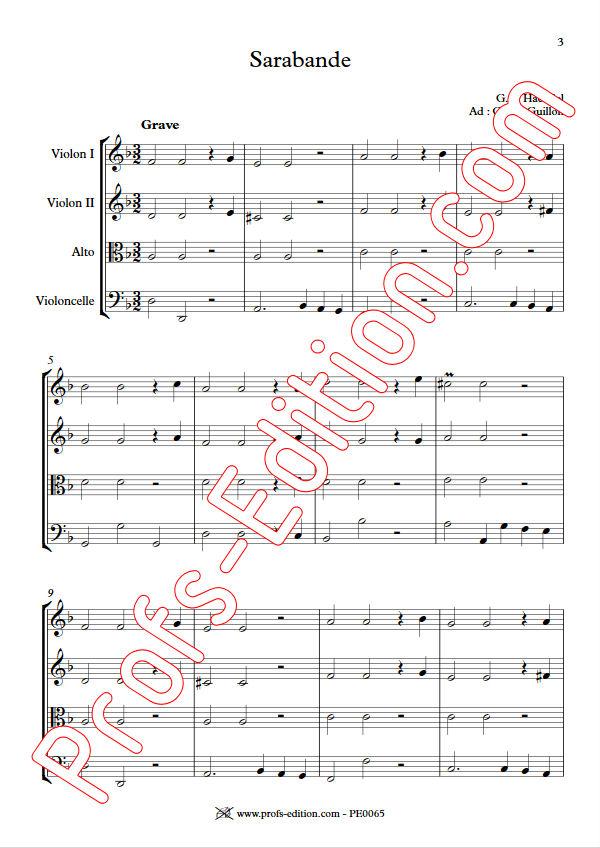 Sarabande (à la blanche) - Quatuor à Cordes - HAENDEL G. F. - app.scorescoreTitle