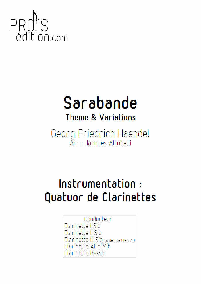 Sarabande - Quatuor de Clarinettes - HAENDEL G. F. - front page