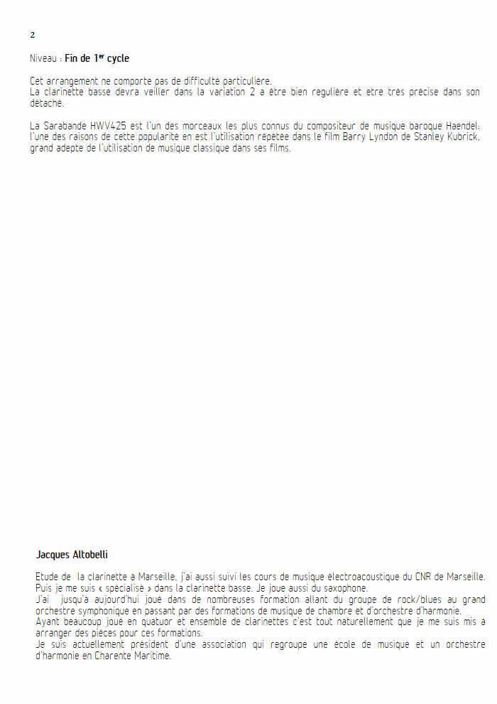 Sarabande - Quatuor de Clarinettes - HAENDEL G. F. - Educationnal sheet