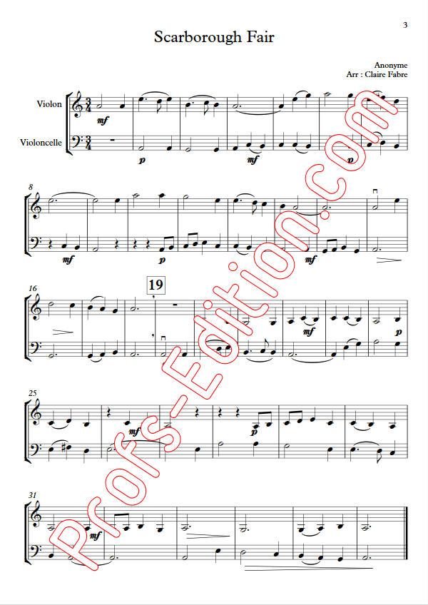 Scarborough Fair - Duo Violon Violoncelle - ANONYME - app.scorescoreTitle