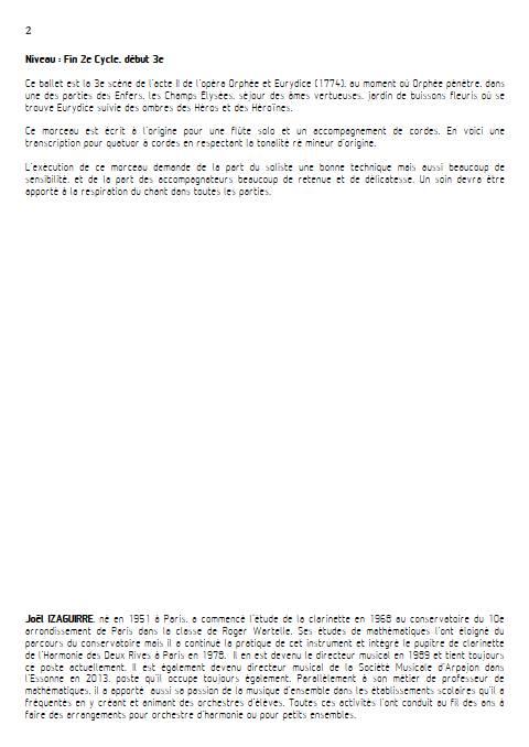 Scene des champs elysées - Quatuor à cordes - GLUCK W. - Educationnal sheet