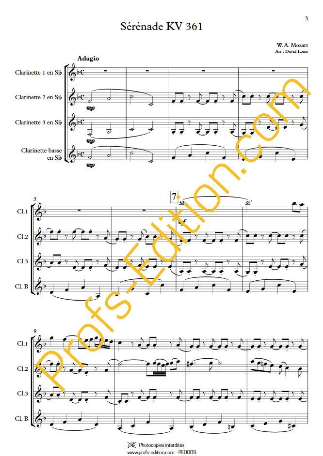 Sérénade KV 361 - Quatuor de Clarinettes - MOZART W. A. - app.scorescoreTitle
