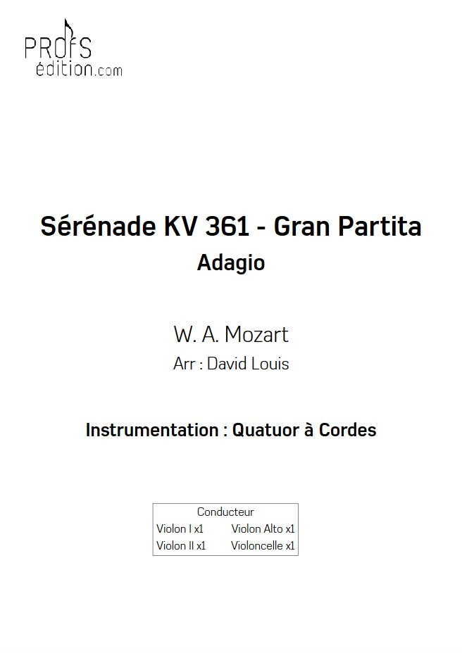 Sérénade KV 361 - Quatuor à Cordes - MOZART W. A. - front page