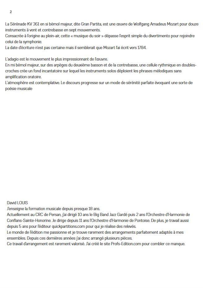 Sérénade KV 361 - Quatuor à Cordes - MOZART W. A. - Educationnal sheet